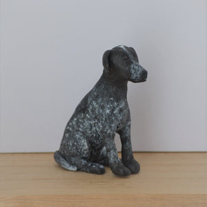 Polymer clay black dog handmade figurine
