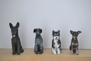 4 custom dog handmade figurines