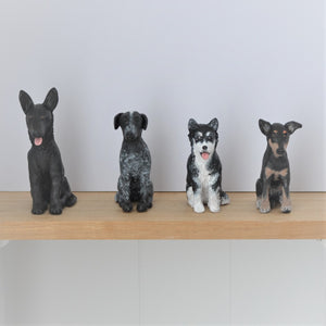 4 handmade polymer clay custom dog figurines