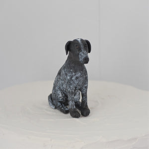 Polymer clay black dog cake topper
