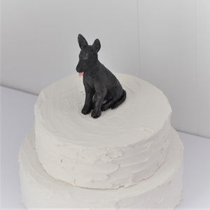 Polymer clay German Shepherd dog cake topper
