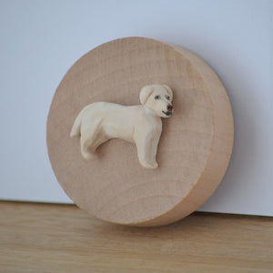 Timber bottle opener with handmade clay yellow lab sculpture attached