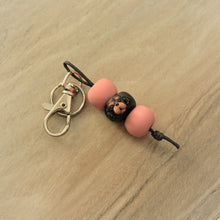 Custom pet keyring - handmade polymer clay miniature dog or cat face sculpture bead keyring