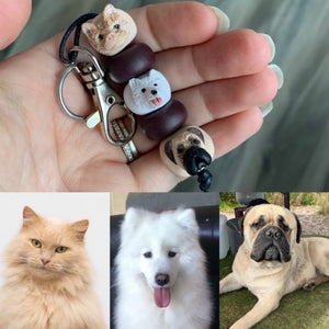 custom pet keyring collage with photos of the cat and dogs that the key chain beads are modelled on.