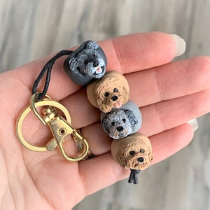 4 bead custom dog keyring