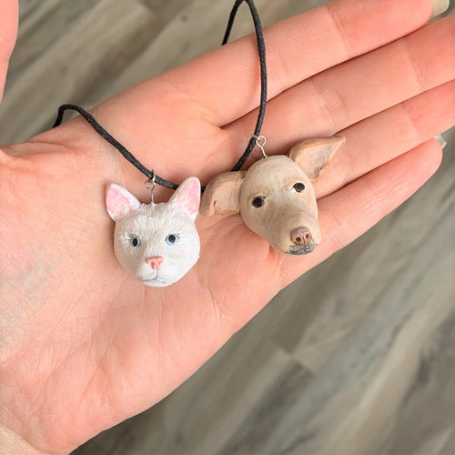 Handmade custom cat and dog necklace