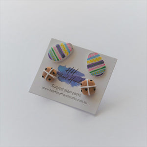Easter earrings double pack - polymer clay hot cross buns and coloured eggs stud pack