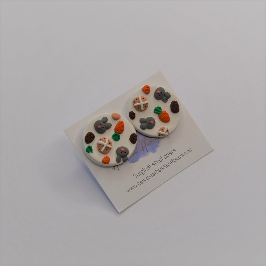 Easter jumble earrings - polymer clay handmade Easter statement studs