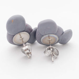 Koala stud earrings shown off earrings card on white background