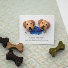 Handmade polymer clay golden retriever dog stud earrings