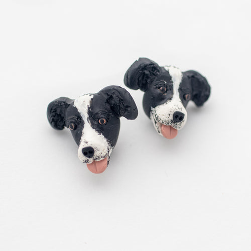 Handmade border collie dog earrings on white background