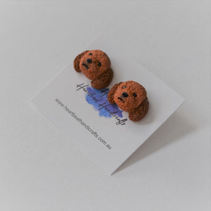 Handmade polymer clay Cavoodle stud earrings shown close up