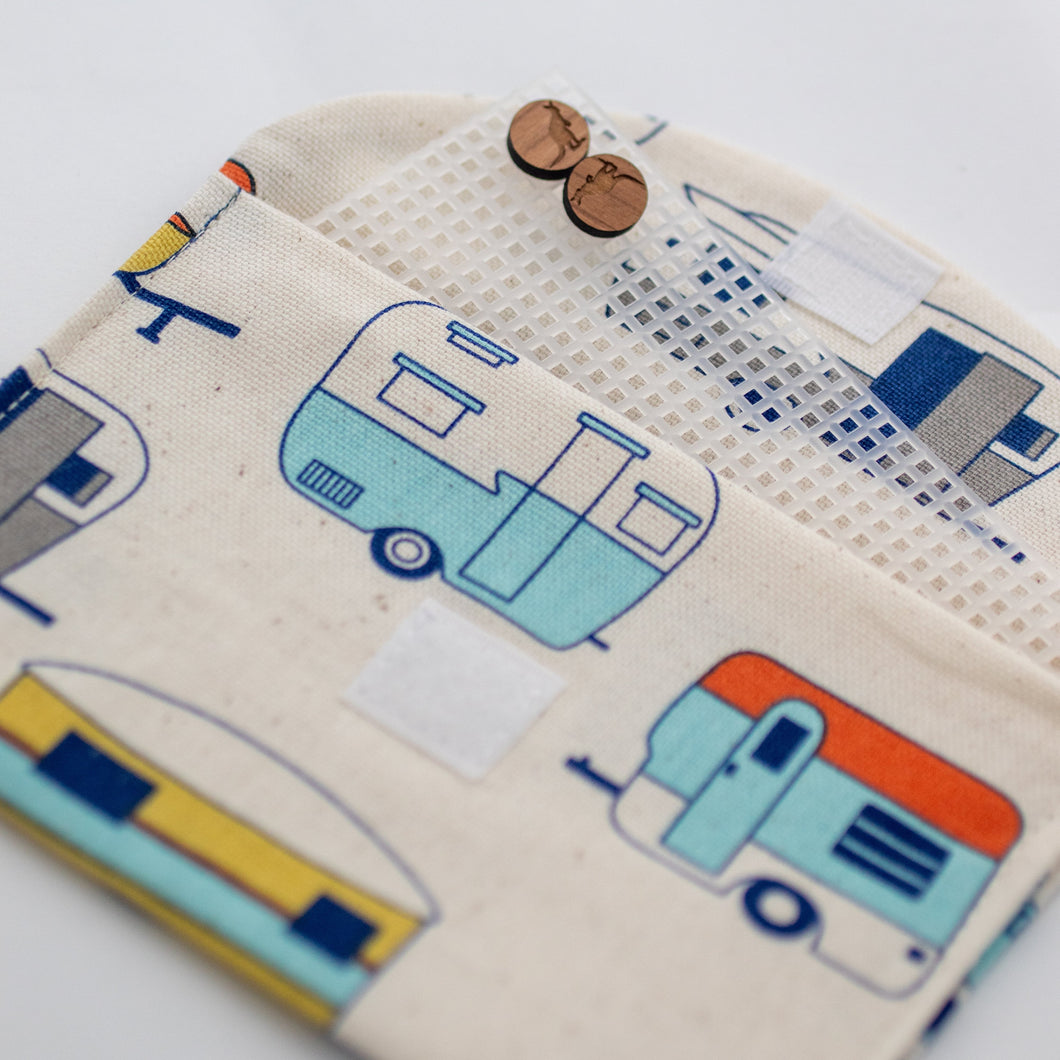 Retro caravan handmade fabric earrings travel pouch displaying use