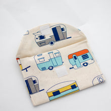 Retro caravan handmade fabric earrings travel pouch open