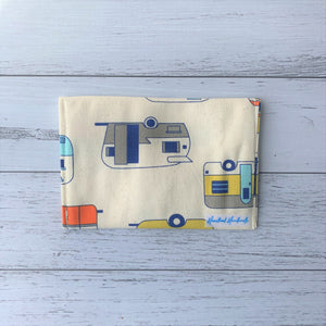 Retro caravan handmade fabric earrings travel pouch displaying back label