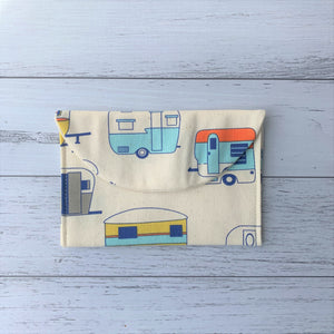 Retro caravan handmade fabric earrings travel pouch closed