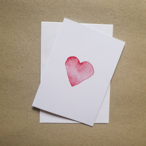 Heart watercolour card on cardstock background