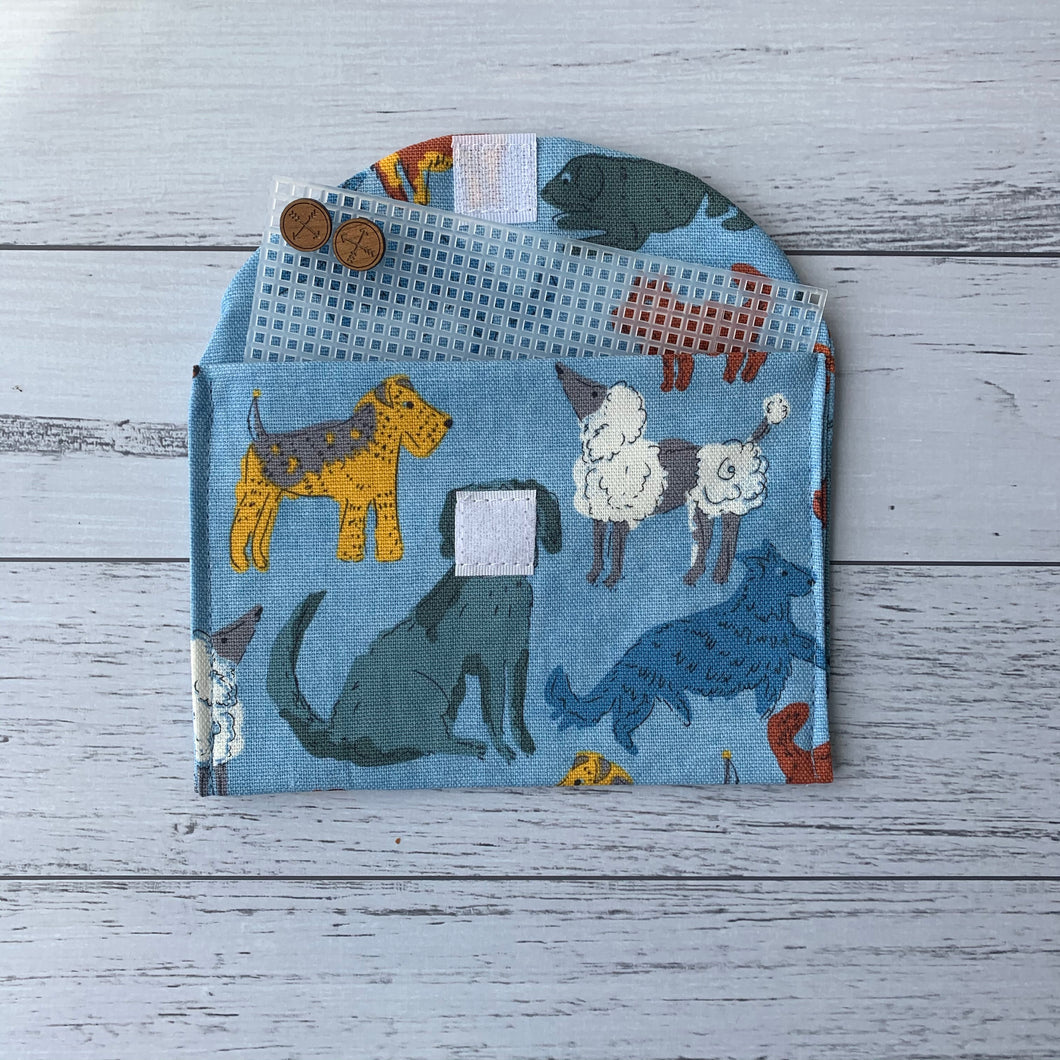 Earrings travel storage pouch in blue dog print fabric