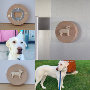 Custom pet magnetic bottle opener- handmade polymer clay miniature dog or cat sculpture on timber magnetic bottle opener