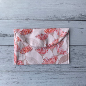Earrings travel storage pouch in pink flowering gum print fabric