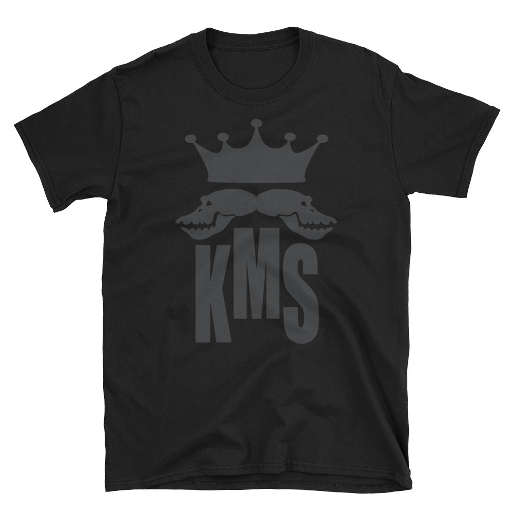 black t-shirt with KMS logo