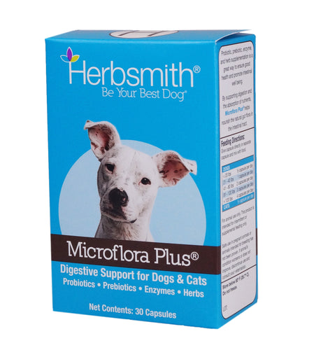 Herbsmith Microflora Plus – Dog Digestion Aid –Probiotics and Digestive Enzymes for Dogs – Prebiotic for Dogs