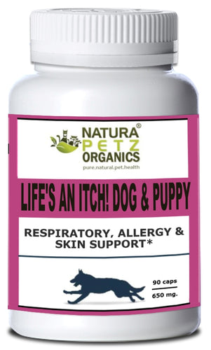 Natura Petz Organics - Life's an Itch! Respiratory, Allergy & Skin Support for Dogs, 90 Capsule Count