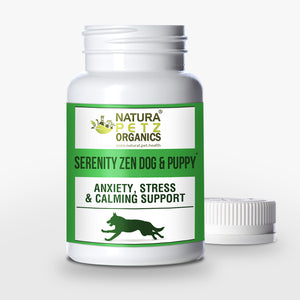 Natura Petz Organics - Serenity Zen Dog and Cat Stress, Relaxation and Multi-Systems Calming Support for Pets, 60 Capsules, 615mg Per Capsule