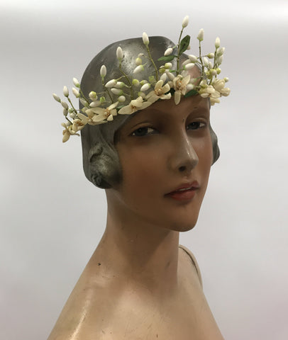 Antique c.1920s wax flower orange blossom tiara