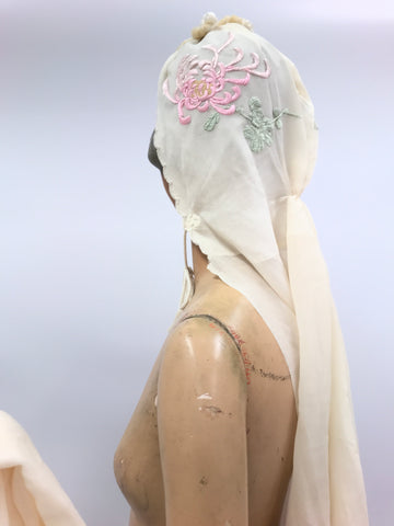 vintage silk chiffon hooded turban styled detachable train c.1930s with embroidered dahlia forbidden stitch