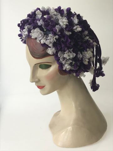 1950s to 1960s violet-covered novelty hat with velvet trim - Marshall and Snelgrove