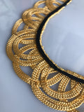 Vintage golden tape-work collar with black edging