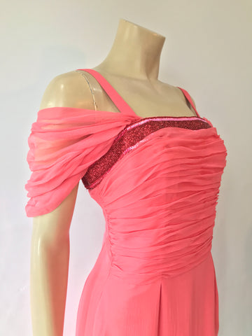 vintage chiffon salmon pink Heiress cocktail dress with beaded neckline and ruched bodice