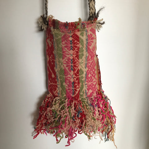 handwoven woollen vintage to antique cross body bag with fringing