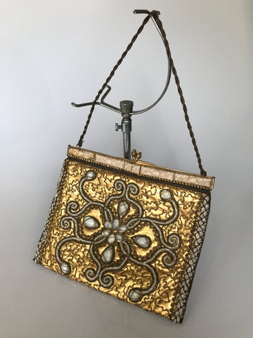 Vintage to antique metallic gold leather heavily beaded evening bag