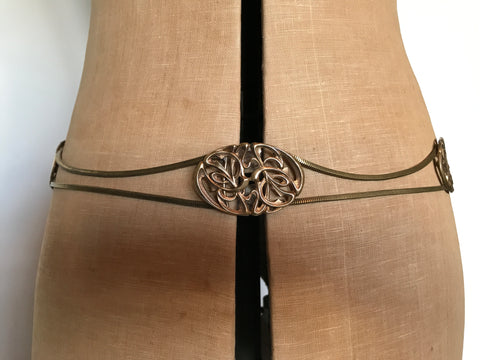c. 1940s victorian revival ? swag belt in goldtone metal