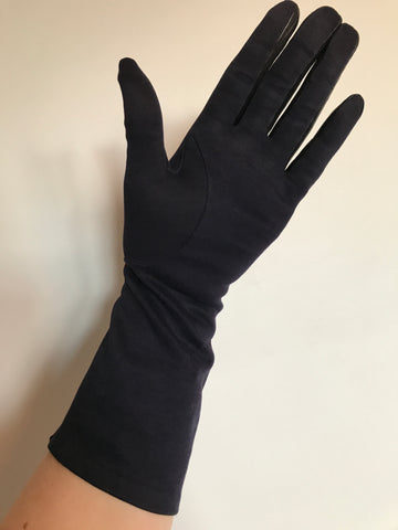 c.1950s vintage Cornelia James navy blue Sea Island cotton gloves with black leather contrast trim 6.5