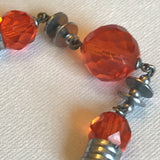 Orange glass and chromium plate machine age 1930s articulated bead necklace
