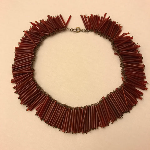 vintage c. 1930s to 1940s unusual burgundy glass wired bugle beaded fringe collar necklace  - anemone