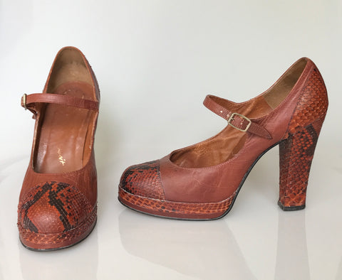 vintage snakeskin and leather platform mary-jane shoes