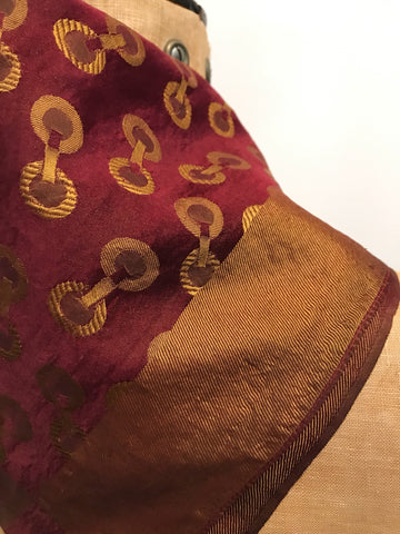 Art Deco Burgundy and gold silk jacquard woven vintage square scarf - horsebit status design - equestrian