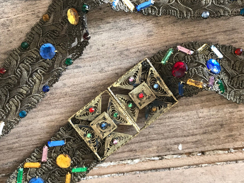 Antique to vintage 1900s vintage Czech gold lamé belt and bejewelled buckle with foiled rhinestones
