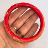 Overdyed and carved celluloid 1920s oriental design bangle or bracelet