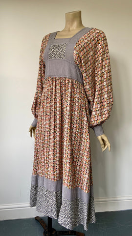 vintage 1970s Wallis full sleeved midi dress in liberty style print with striped accents