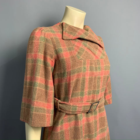 Vintage 1970s does 1940s homemade windowpane check wool vintage dress