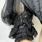 C.1890s to 1900 Victorian elaborately beaded and sequinned pigeon fronted mourning bodice