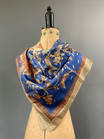 Vintage 1920s vintage pongee silk square in Browns and blues