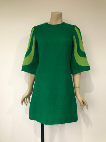 1960s crayola green vintage shift dress with flared sleeves in fine textured weave - Shubette