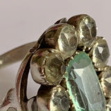 1800s antique aquamarine and diamond paste statement ring - large size