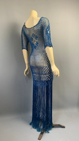 Vintage 1920s hand crocheted royal blue fringed Art Deco evening dress